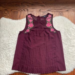 AEP Maroon Red Embroidered Floral Pleated Top XS
